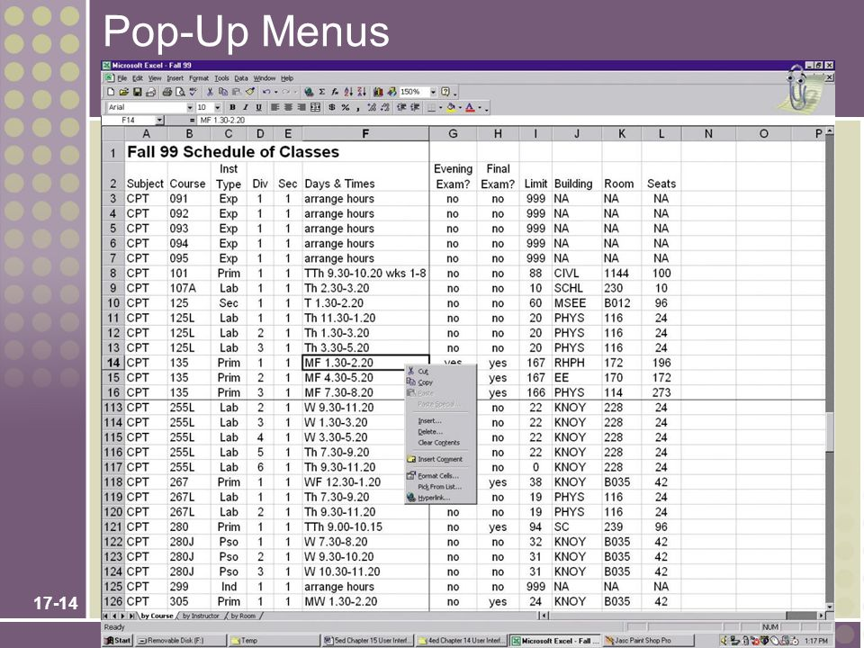 Pop-Up Menus Chapter 17 – User Interface Design Teaching Notes: