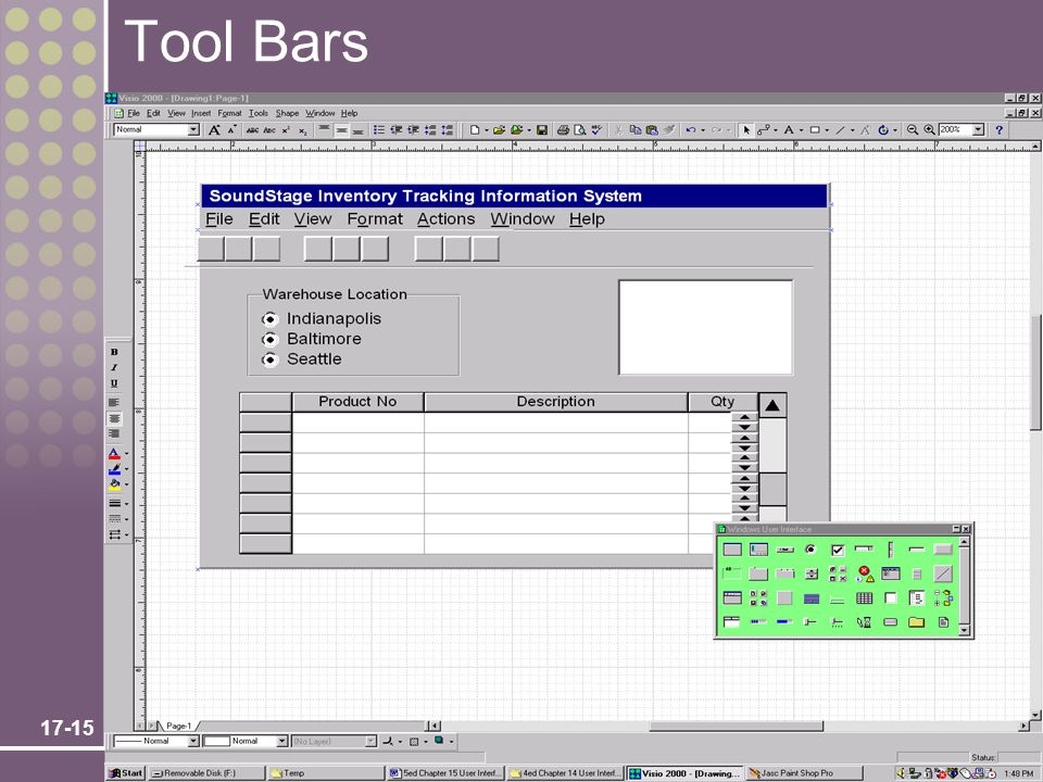 Tool Bars No additional notes. Chapter 17 – User Interface Design