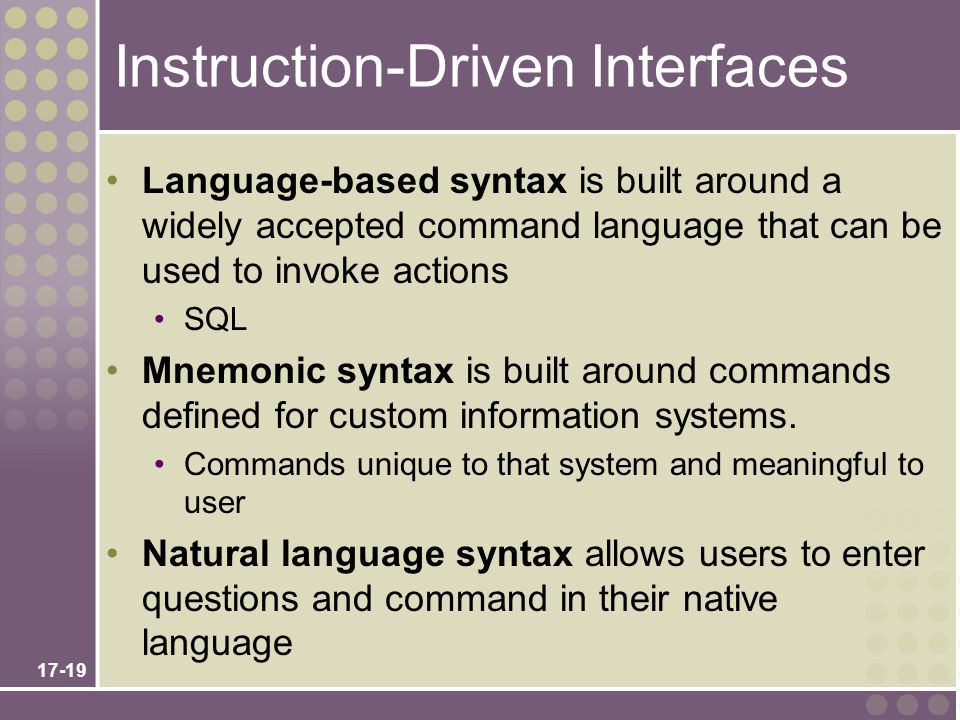 Instruction-Driven Interfaces