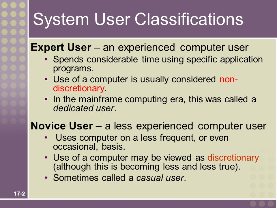 System User Classifications