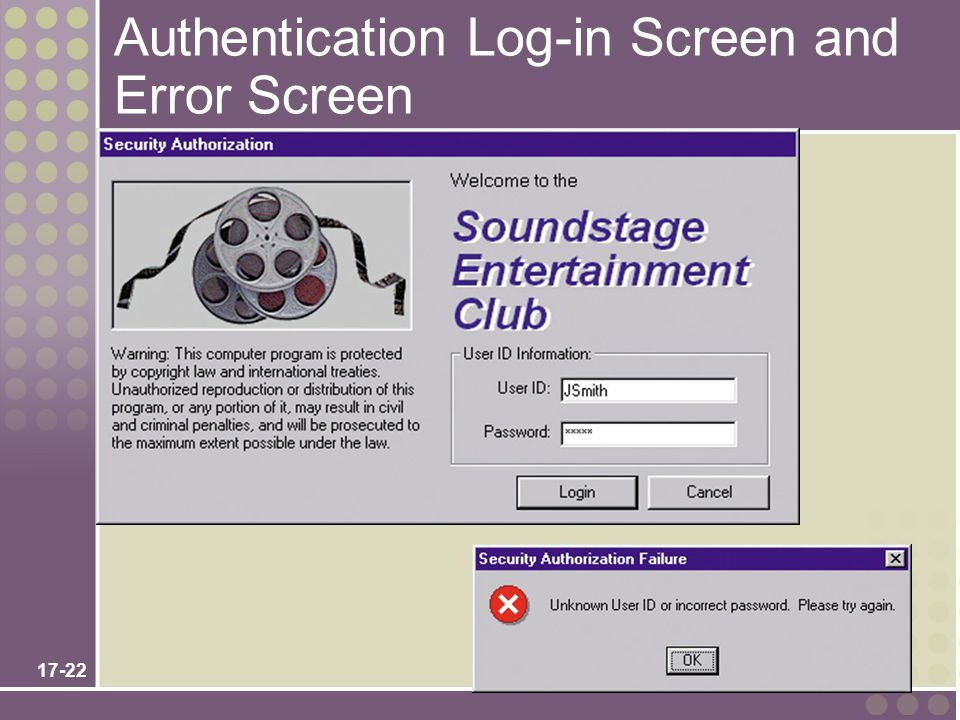 Authentication Log-in Screen and Error Screen