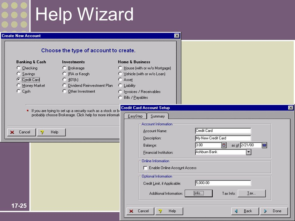 Help Wizard No additional notes. Chapter 17 – User Interface Design