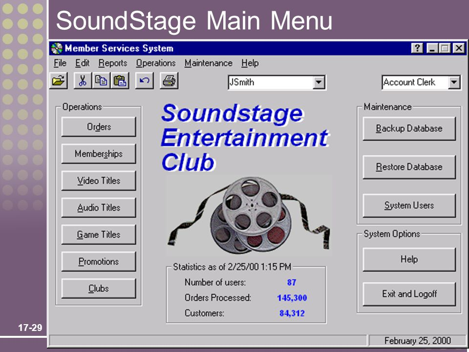 SoundStage Main Menu Chapter 17 – User Interface Design