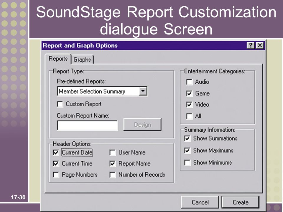 SoundStage Report Customization dialogue Screen