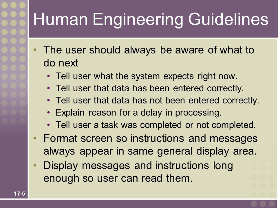 Human Engineering Guidelines