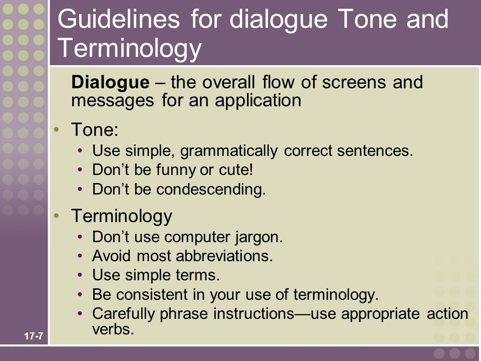 Guidelines for dialogue Tone and Terminology