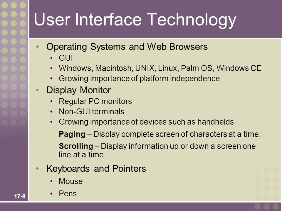 User Interface Technology