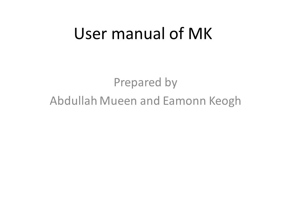 Prepared by Abdullah Mueen and Eamonn Keogh