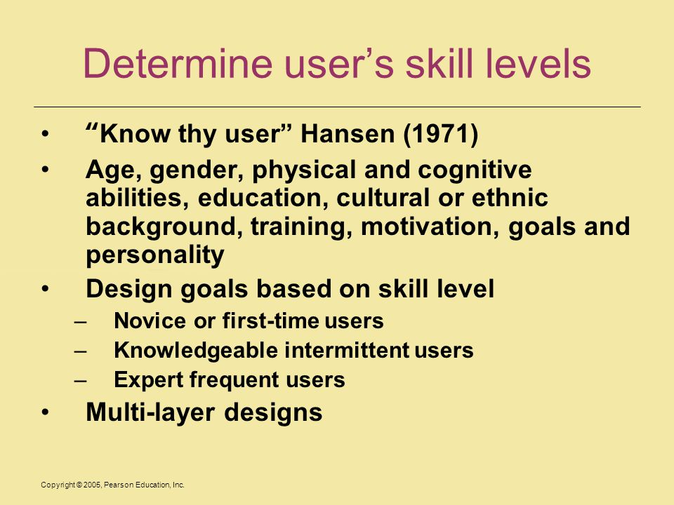 Determine user's skill levels