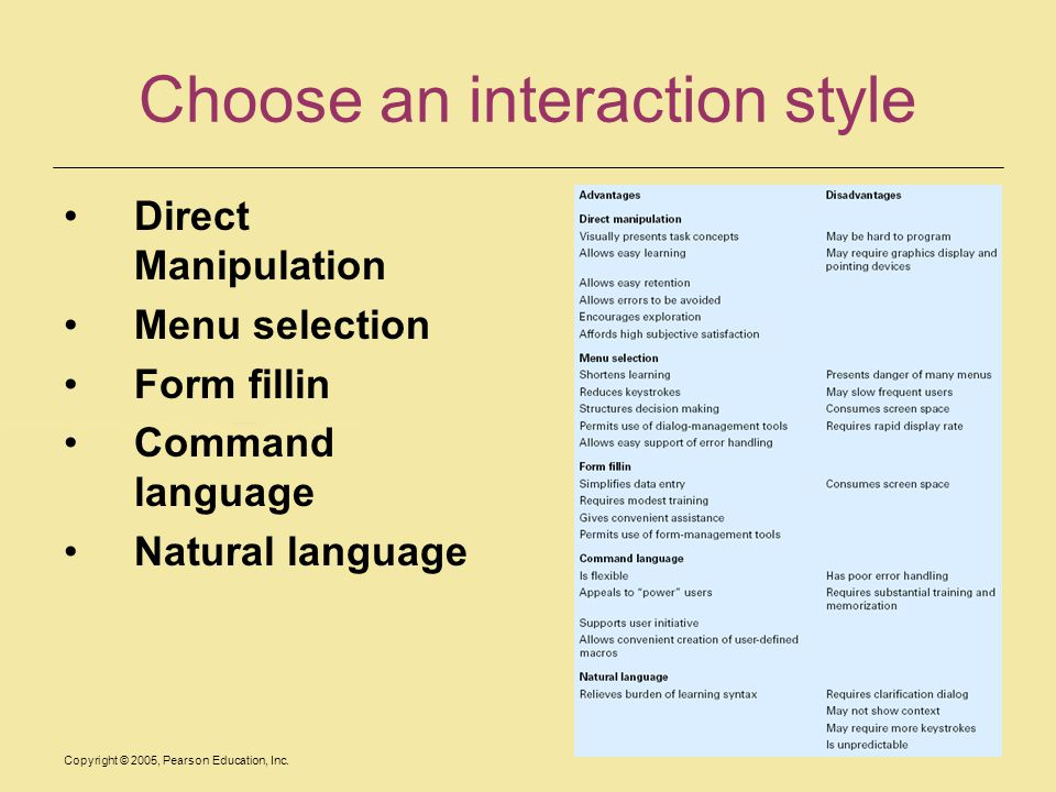 Choose an interaction style