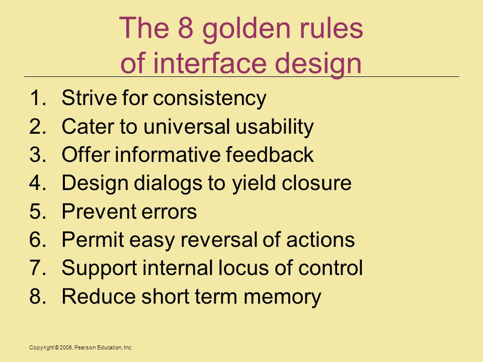 The 8 golden rules of interface design