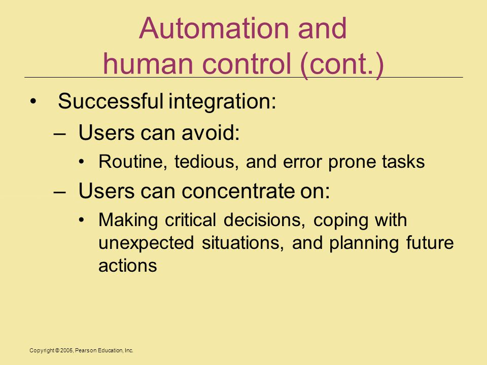 Automation and human control (cont.)
