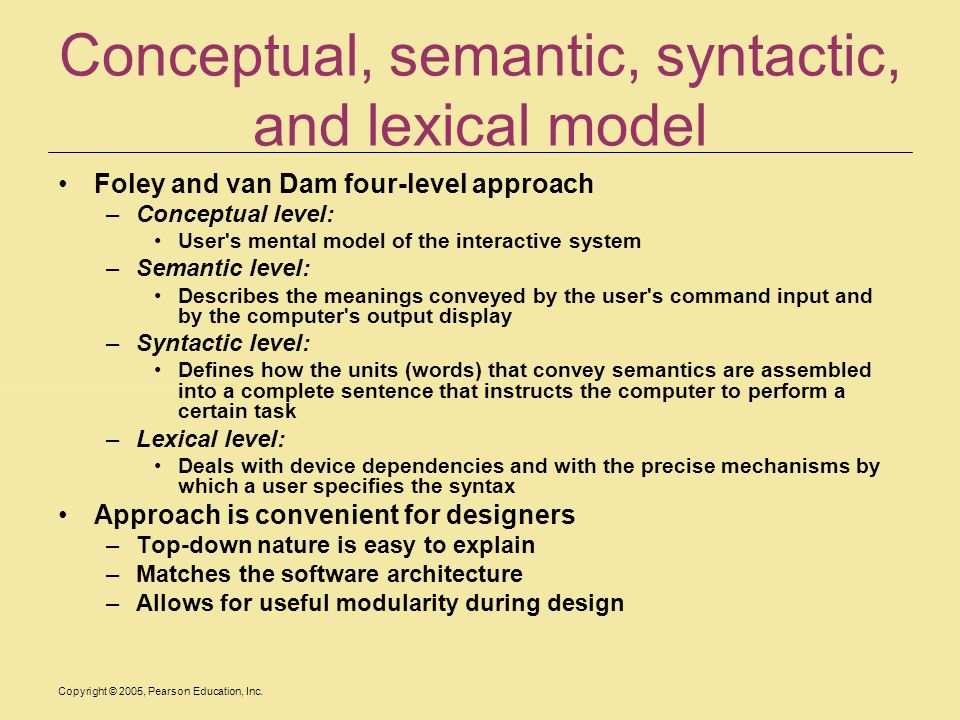 Conceptual, semantic, syntactic, and lexical model