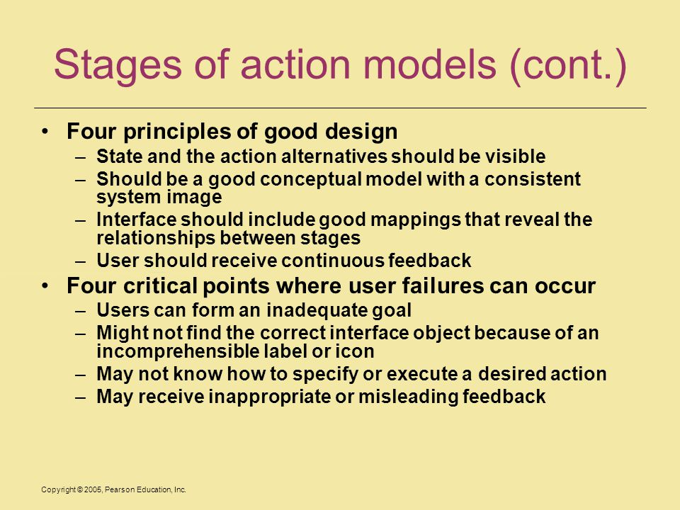 Stages of action models (cont.)