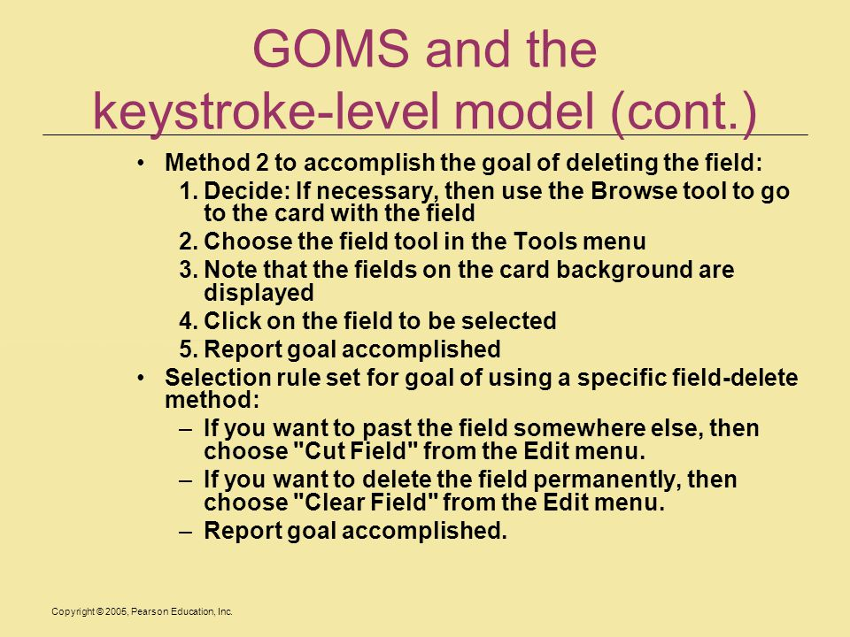 GOMS and the keystroke-level model (cont.)