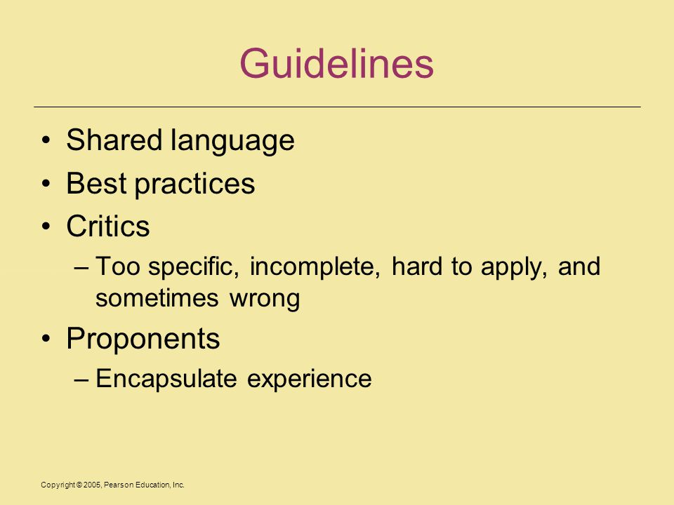 Guidelines Shared language Best practices Critics Proponents