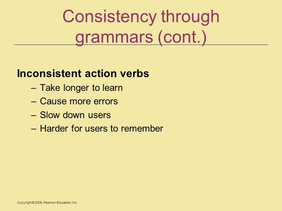 Consistency through grammars (cont.)
