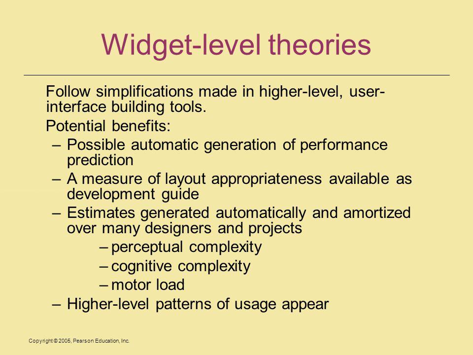Widget-level theories