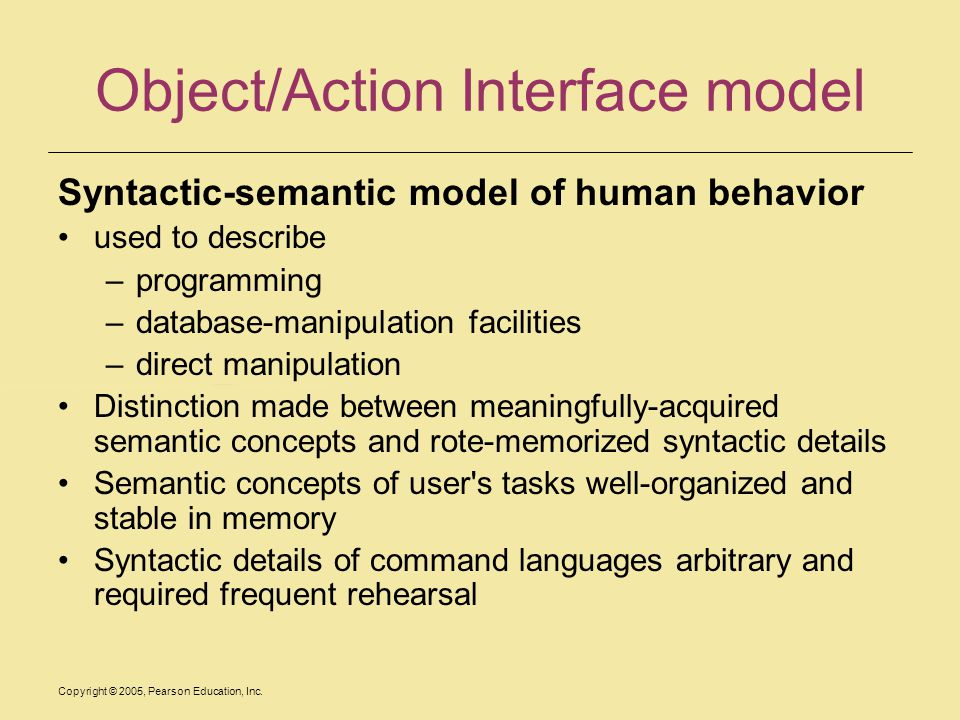Object/Action Interface model
