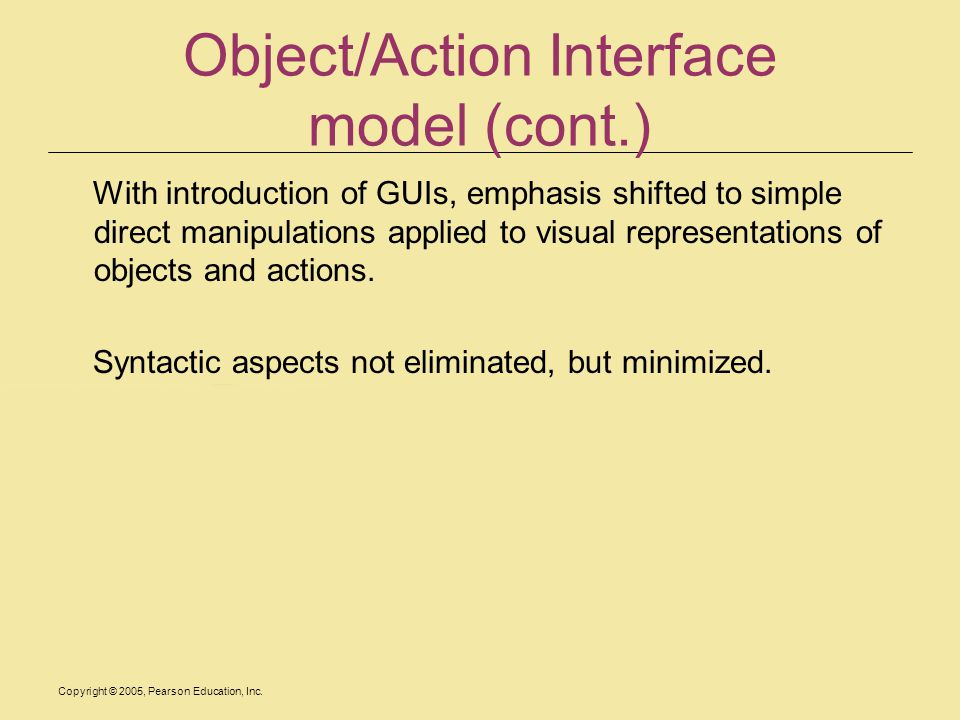 Object/Action Interface model (cont.)
