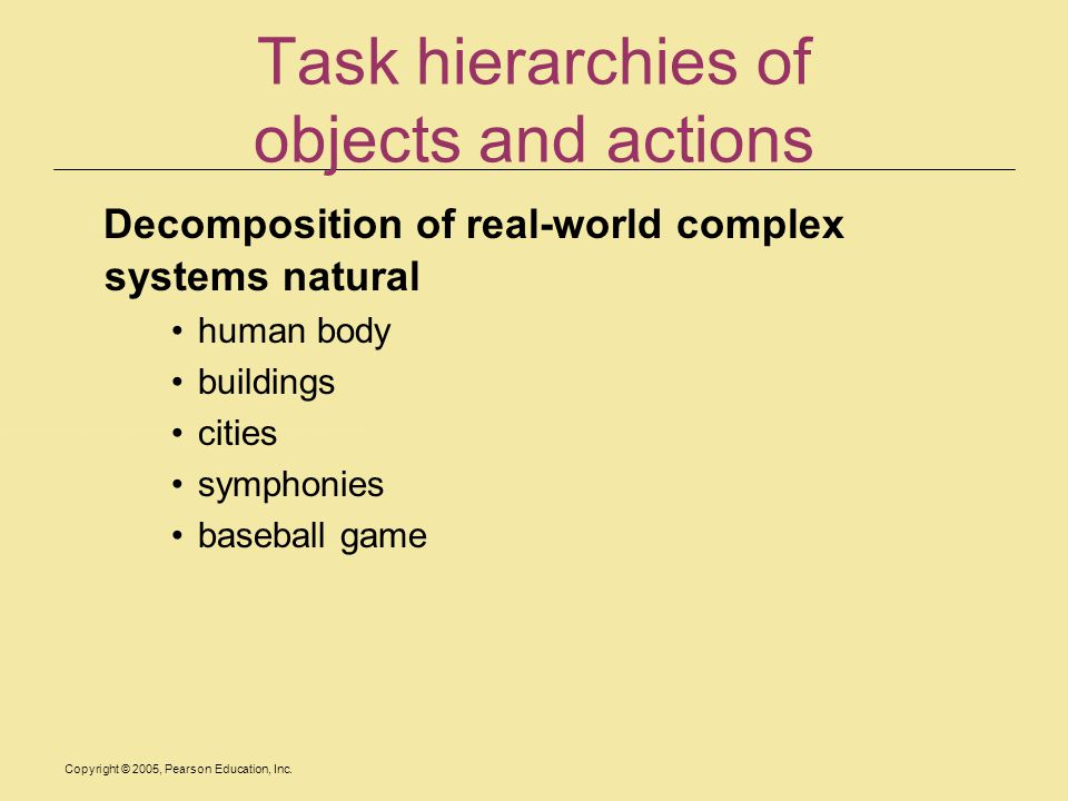 Task hierarchies of objects and actions