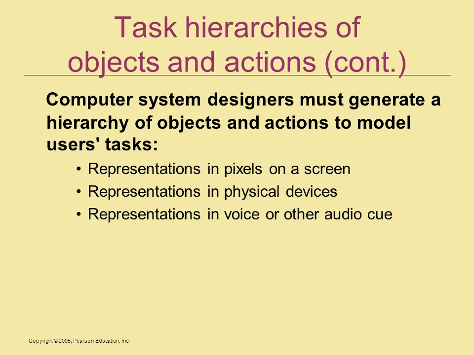 Task hierarchies of objects and actions (cont.)