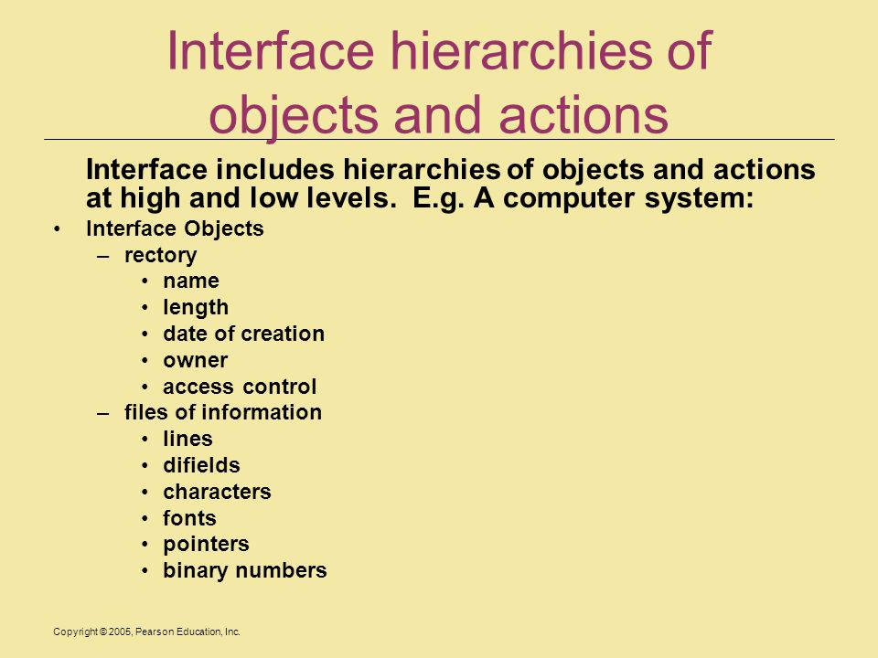 Interface hierarchies of objects and actions
