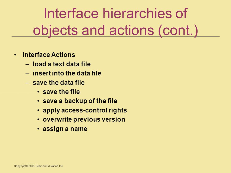 Interface hierarchies of objects and actions (cont.)