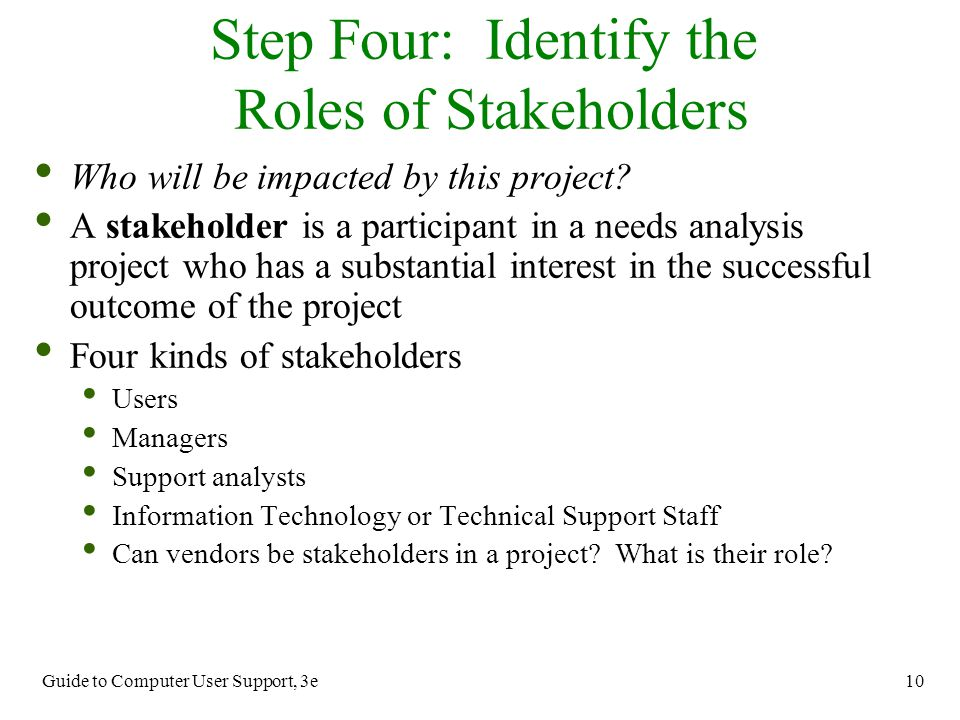 Step Four: Identify the Roles of Stakeholders