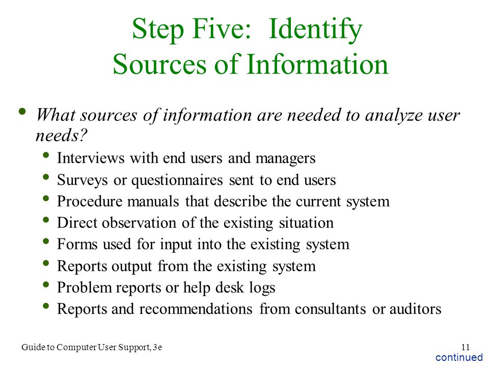 Step Five: Identify Sources of Information