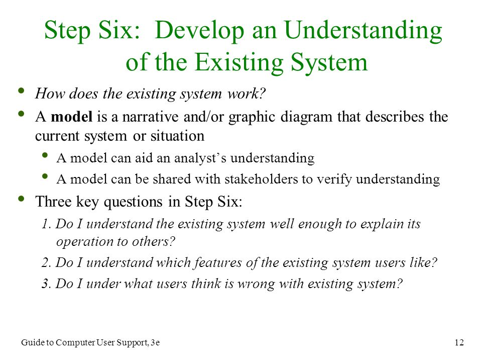 Step Six: Develop an Understanding of the Existing System