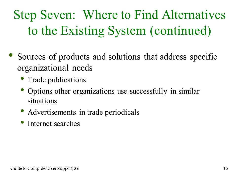 Step Seven: Where to Find Alternatives to the Existing System (continued)