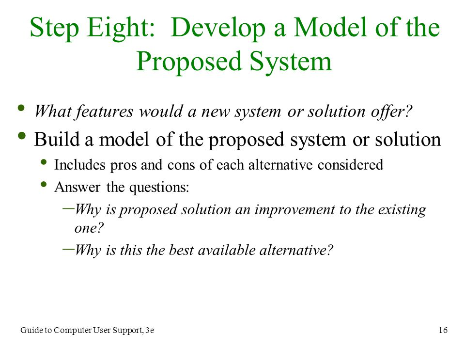 Step Eight: Develop a Model of the Proposed System