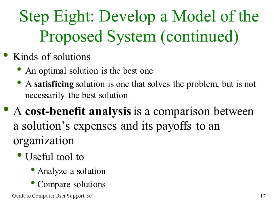Step Eight: Develop a Model of the Proposed System (continued)