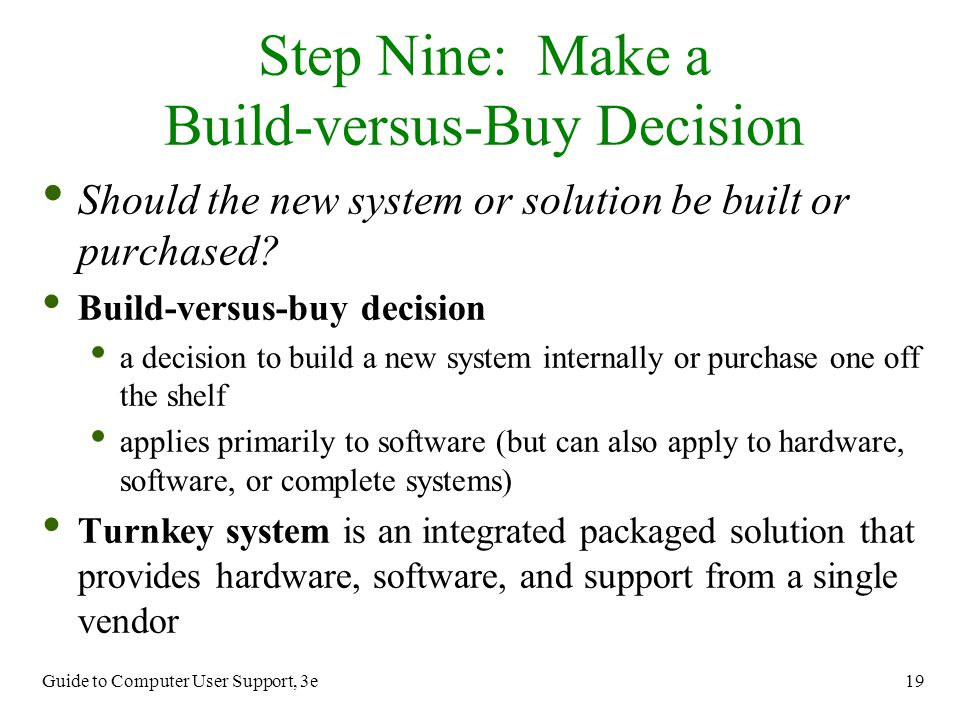 Step Nine: Make a Build-versus-Buy Decision