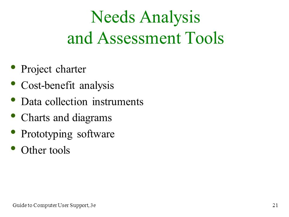 Needs Analysis and Assessment Tools