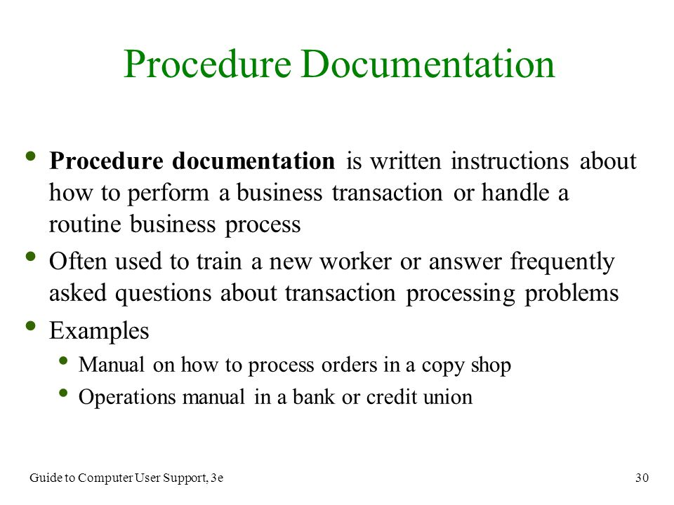 Procedure Documentation
