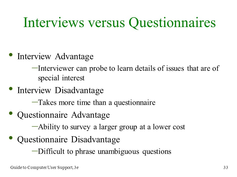Interviews versus Questionnaires