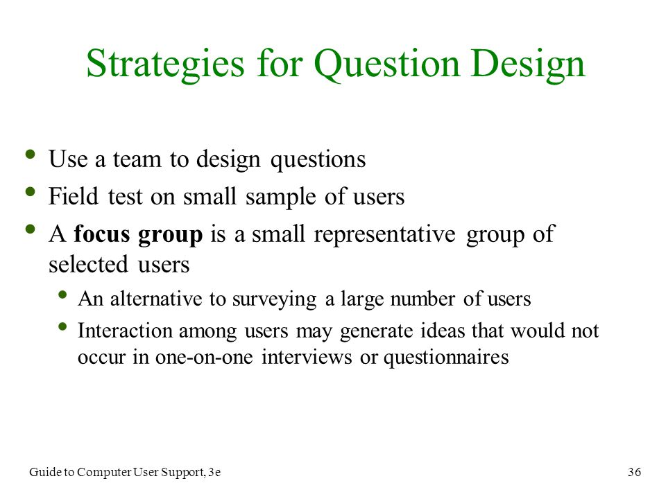 Strategies for Question Design