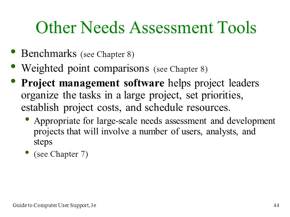 Other Needs Assessment Tools