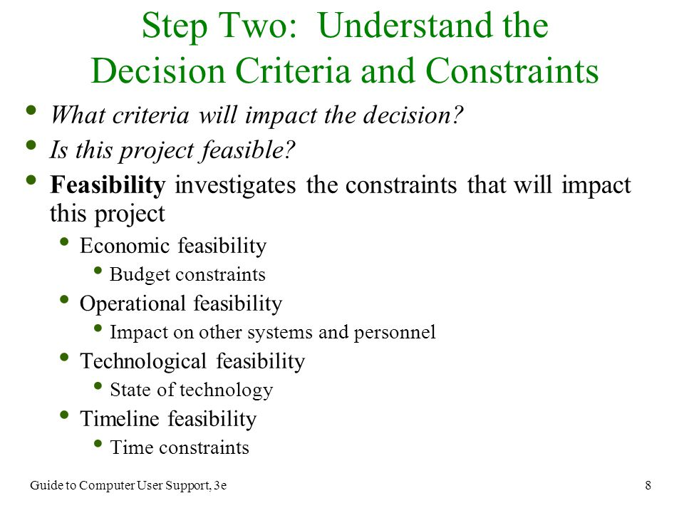 Step Two: Understand the Decision Criteria and Constraints
