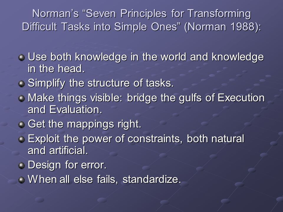 Norman's Seven Principles for Transforming Difficult Tasks into Simple Ones (Norman 1988):