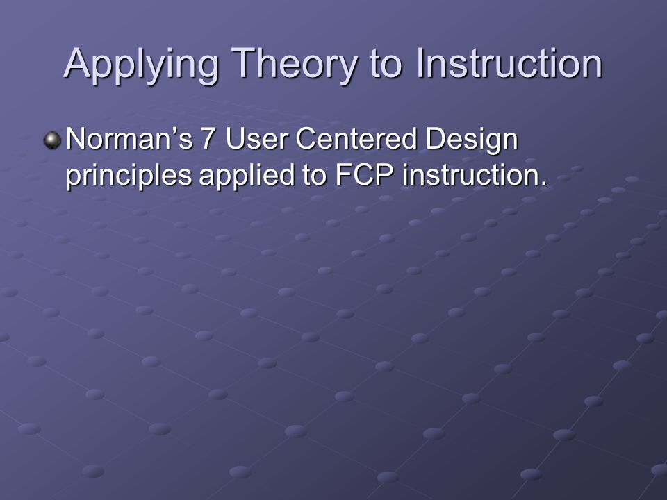 Applying Theory to Instruction