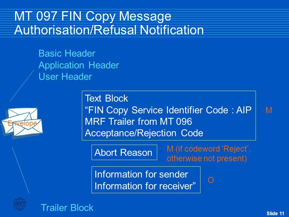 MT 097 FIN Copy Message Authorisation/Refusal Notification