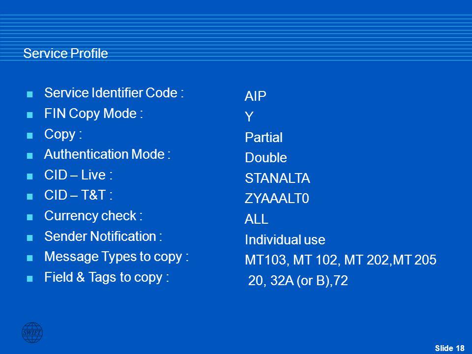 Service Profile Service Identifier Code : FIN Copy Mode : Copy : Authentication Mode : CID – Live :