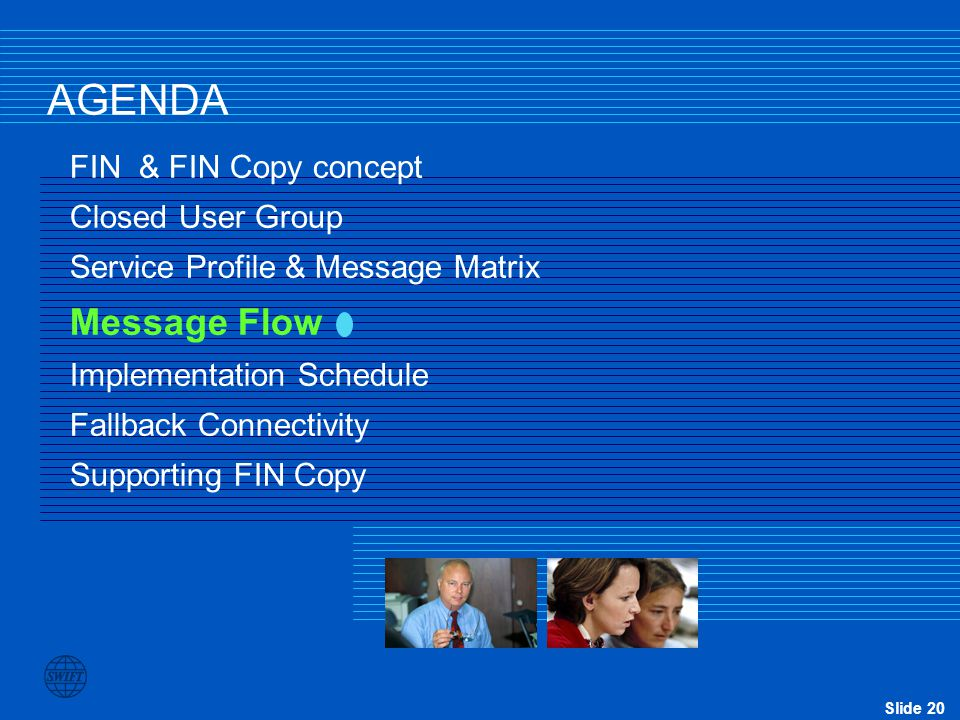 AGENDA Message Flow FIN & FIN Copy concept Closed User Group