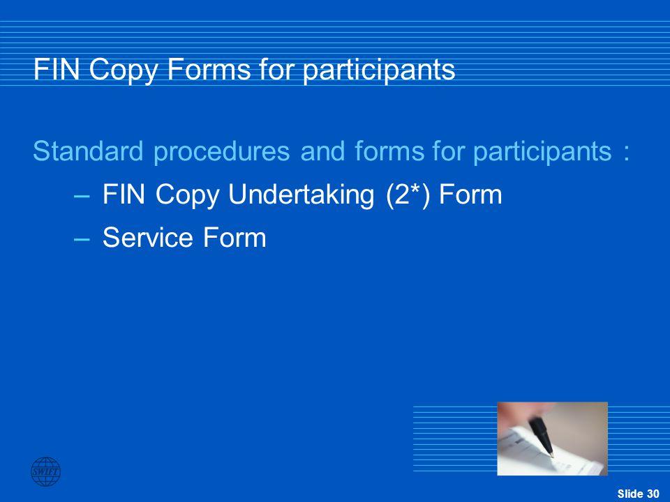 FIN Copy Forms for participants