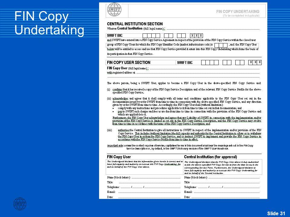 FIN Copy Undertaking