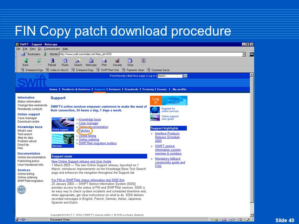FIN Copy patch download procedure