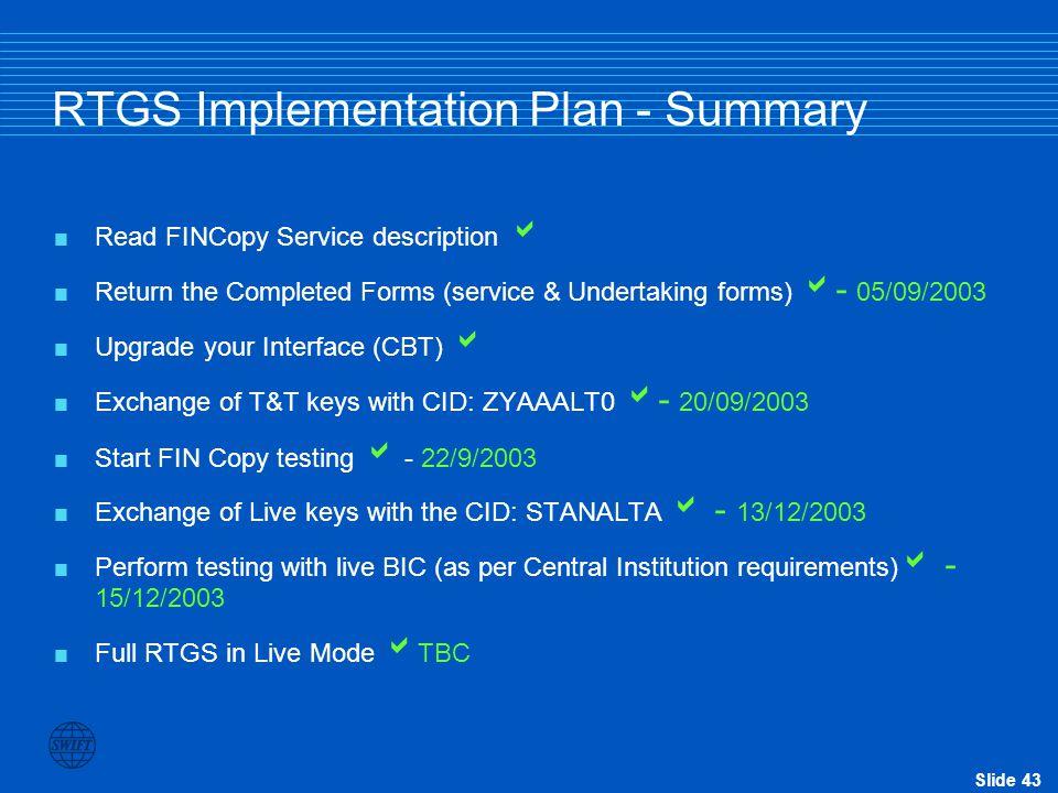 RTGS Implementation Plan - Summary